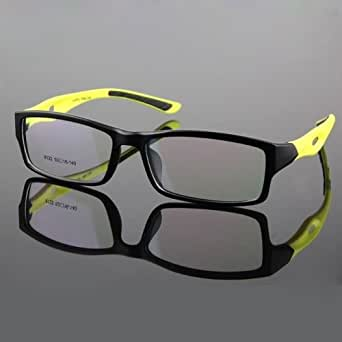 Black with Yellow temples TR90 Men's Sport Fashion Flexible Eyeglass Frame Optical Eyewear glasses Rx 8112