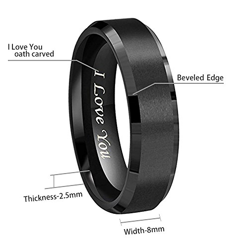 AIKEN Mens Rings Casual Basic Polished Tungsten Wedding Bands Rings Comfort Fit Tungsten Carbide Matte Rings for Men Women Black 11mm by AIKEN (Image #2)