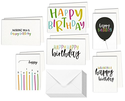 48 Assorted Happy Birthday Cards Single-side Printing Greeting Notecards in Postcard Style, Bulk Box Variety Set Includes 6 Different Designs with Envelopes, 4 x 6 Inches