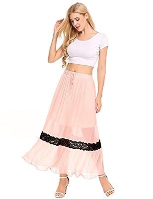 Zeagoo Women's High Elastic Waist Long Chiffon Skirt Lace Insert A Line Maxi Skirt