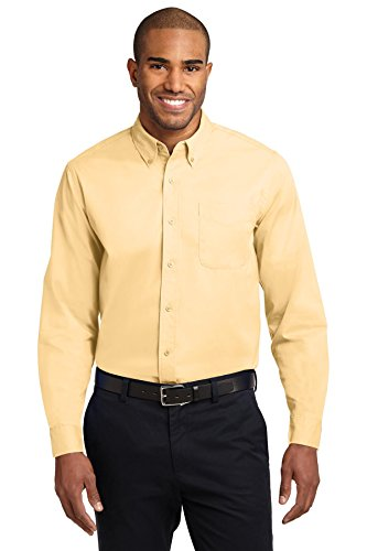 Yellow Port (Port Authority Men's Tall Long Sleeve Easy Care Shirt 3XLT Yellow)