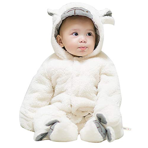 mikistory Infant Romper Newborn Unisex Costume for Baby Newborn Outfit Hoodie Winter Baby Outfits Bodysuits White Lamb 7-10Months -