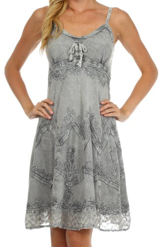 Sakkas 4031 Stonewashed Rayon Embroidered Adjustable Spaghetti Straps Mid Length Dress - Grey - L/XL
