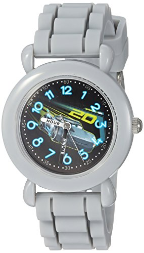 Disney Boy's 'Cars 3' Quartz Plastic and Silicone Casual Watch, Color:Grey (Model: WDS000304)