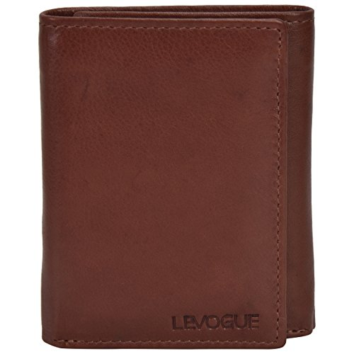 Genuine Leather Mens RFID Blocking Slim Trifold Wallet with 6 Cards+1 ID Window + 2 Note Compartments. (Brown Crazy Horse) (Tan Nappa)