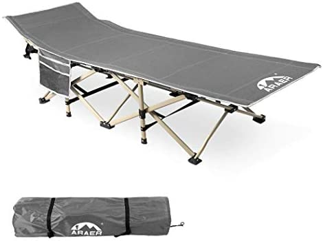 Zone Tech Folding Outdoor Travel Cot – Classic Grey Premium Quality Lightweight Portable Heavy Duty Adult and Kids Travel Cot with Large Pocket-Perfect for Hiking, Camping, and Other Outdoor Activiti