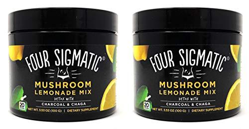 Four Sigmatic Mushroom Lemonade Mix - Charcoal Lemonade and Chaga Mushroom - 3.53 Ounce Jar (Pack of 2 - 40 Servings Total)