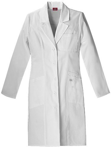Dickies Medical Scrubs 82401 Women's Jr Fit EDS Pro. Whites 37-inch Lab Coat White Small Color: White Size: Small Model: 82401-DWHZ