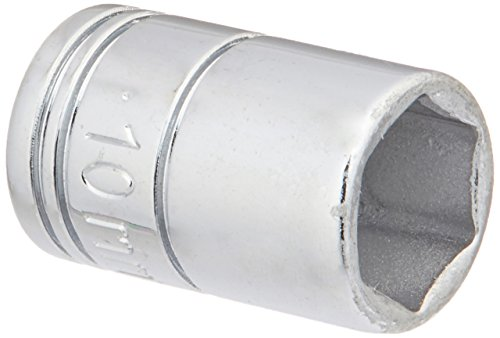 SK Professional Tools 40709 1/4 in. Drive 6-Point Metric Standard Chrome Socket -10mm, Cold Forged Steel Socket with SuperKrome Finish, Made in USA