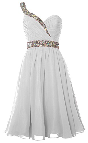 MACloth Women One Shoulder Crystal Chiffon Short Prom Gown Cocktail Party Dress Blanco