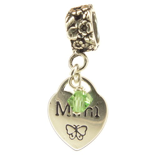 Mimi Heart Peridot Crystal August Birthstone Small Sterling Silver Dangle Mimi Charm