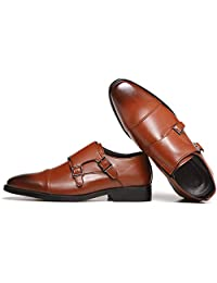 Housking Men's Double Monk Strap Buckle Slip on Loafer Leather Oxford Formal Business Casual Comfortable Dress Shoes for Men