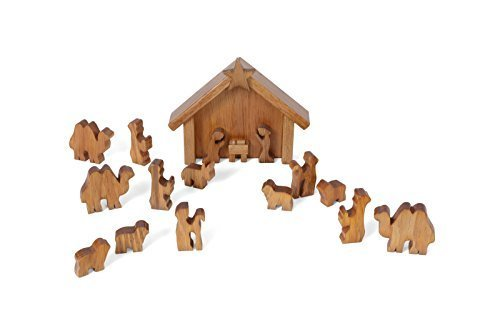 (Amish-Made Wooden Nativity Manger Scene Set, 13 Pieces)