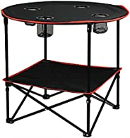 Jabroyee Folding Table,Jabroyee Travel Camping Picnic Collapsible Round Table with 4 Cup Holders and Carry Bag