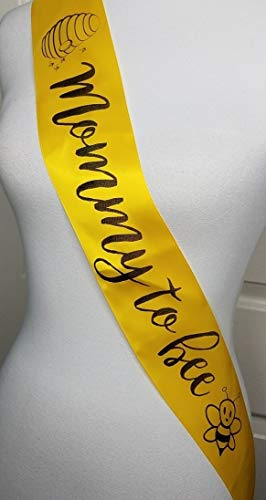 Mommy to Bee Baby Shower Sash for Mommy to Be Yellow & Black with Rhinestone -