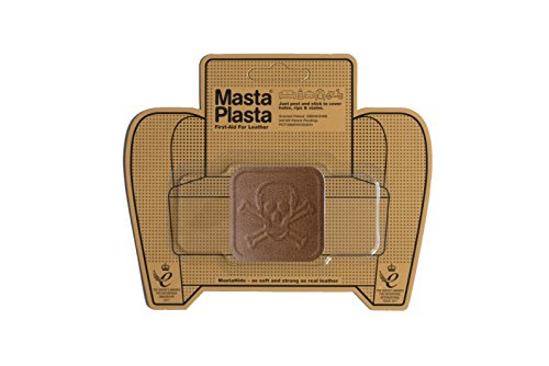 MastaPlasta Self-Adhesive Patch for Leather and Vinyl Repair, Pirate, Tan - 2 x 2 Inch