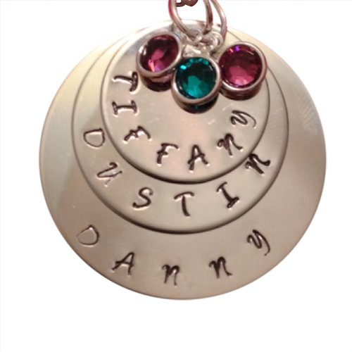 Triple Name Circle Necklace with Birthstones - Hand Stamped Personalized Jewelry - Silver Necklace - Custom Jewelry - Great for Mothers Day - Mom or Grandma