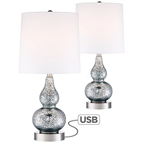 Castine Blue Mercury Glass Table Lamp with USB Port Set of 2