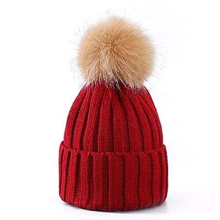 Women Ladies Winter Pom Pom Hat Cosy Beanie Warm Winter Cap Pom Pom Bobble  Hat (DARK RED)  Amazon.co.uk  Kitchen   Home 591484656