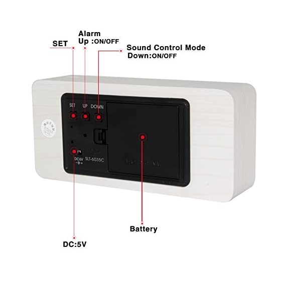 KABB Wooden Alarm Clock, Acoustic Control Digital Clock White Wood Grain White LED Light Design with Time Date Week… - LIMITED TIME SPECIAL: $18.63; Stylish and portable digital desktop alarm clock for home & office; Clear and bright display show Time (12/24hrs) Date Week and Temperature (NOTE: Only with Celsius display), Three group alarms. FASHIONABLE: Modern simplicity design, wood shape and texture will bring the breath of nature into the room. The perfect fusion of a simple alarm clock, practical and simple appearance; 3-LINE DISPLAY MODES: Mode 1: Time/ Month(date)/ Week(day); Mode 2: Hr/ Min/ Sec & Temperature ( Only Celsius) and Mode 3: Circulation show of Mode 1 & Mode 2 ; - clocks, bedroom-decor, bedroom - 412GG5Pb9cL. SS570  -