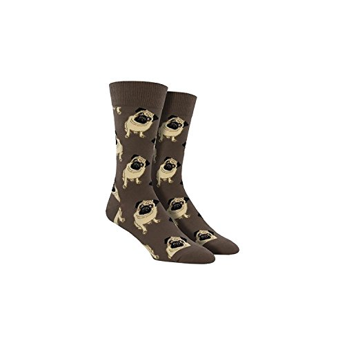 Socksmith Men's Socks Pugs Crew Brown 1pair (One Size Fits Sock Size 10-13)