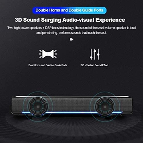 Shumo V-196 Usb Wired Computer Speaker Bar Stereo Subwoofer Powerful Music Player Bass Surround Sound Box 3.5Mm Audio Input for Pc Laptop Smartphone Tablet Mp3 Mp4