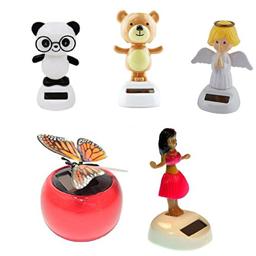 Mstechcorp Solar Powered Swinging Panda, Swinging Monkey, Angel, Butterfly, Red Hula Girl Set Kids Toys For Cars, Novelty, Birthday Gifts, Dashboard