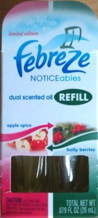 Holly Berry Scent Oil - Febreze Noticeables Dual Scented Oil Refills Limited Edition Holiday Scent, Apple Spice / Holly Berries, 1 dual sided refill