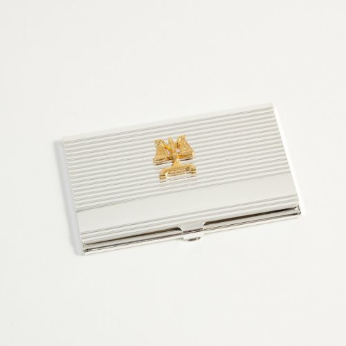 Silver Plated Legal Scales Business Card Case Holder ()