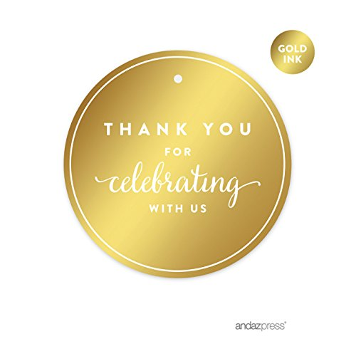 Andaz Press Round Circle Favor Gift Tags, Metallic Gold Ink, Thank You for Celebrating With Us, 24-Pack, For Baby Bridal Shower, Wedding Decor (Gift Tags Favor)