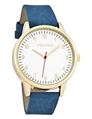 Ferenzi Men's | Classic Gold Watch with Blue Suede Band and Red Hand | FZ16702