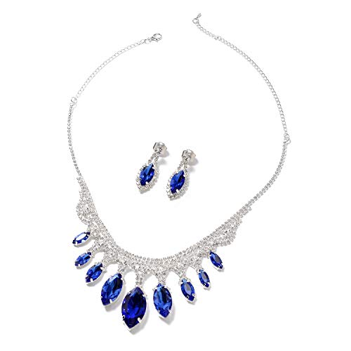 Shop LC Delivering Joy Dangle Drop Earrings Necklace Set Blue Glass White Crystal Gift Jewelry for Women Size 21