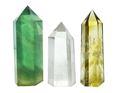 Set of 3 Crystal Wands of Clear Quartz, Yellow Quartz & Fluorite Stone,Pointed & Faceted for Healing Reiki Chakra Meditation Therapy Decor ()