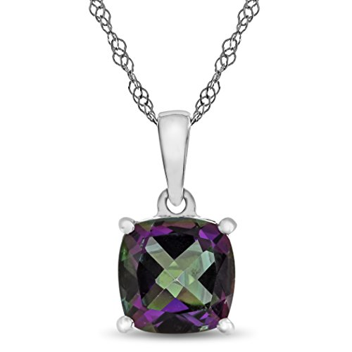 Finejewelers 10k White Gold 7mm Cushion Mystic Topaz Pendant Necklace ()