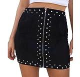 SportsX Women Skinny Zip High Waist Sexy Beads Bodycon Half Skirt Mini Skirt Black M