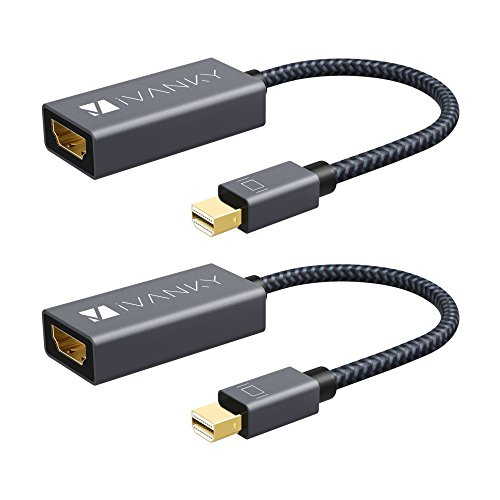 o HDMI Adapter [2-Pack, Super Slim, Nylon Braided] Mini DisplayPort to HDMI Adapter for Microsoft Surface Pro/Dock, Apple MacBook Air/Pro, Monitor, Projector and More -Space Grey ()