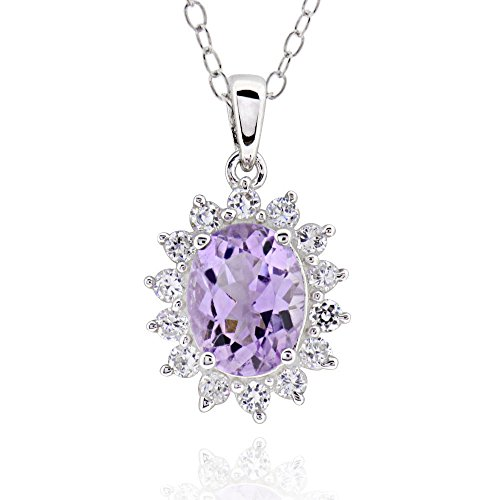Sterling Silver Oval Amethyst & Cubic Zirconia Flower Pendant Necklace 18