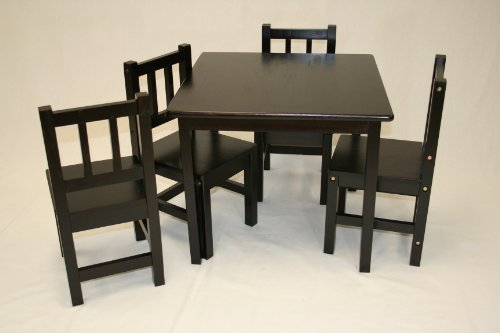 eHemco Kids Table and 4 Chairs Set Solid Hard Wood in Espresso