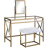 HOMES: Inside + Out Idf-DK6707CPN Ensta Geometric Vanity Table with Stool, Champagne