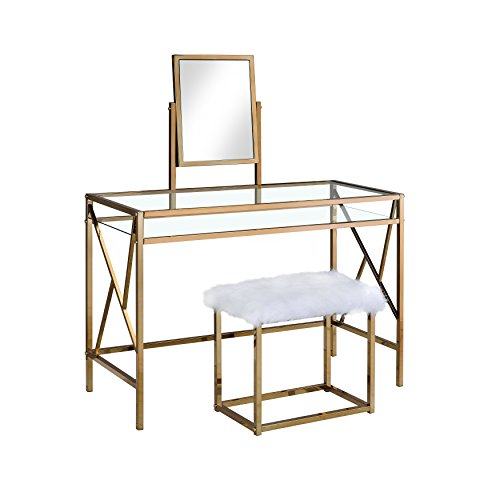 HOMES: Inside + Out IDF-DK6707CPN Ensta Geometric Vanity Table with Stool, (Gold Faux Fur)