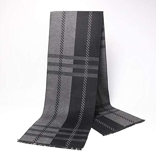 AODEK Mens Plaid Mens Autumn And Winter High-end Scarf Warm Simple Simple Wild Young Scarf
