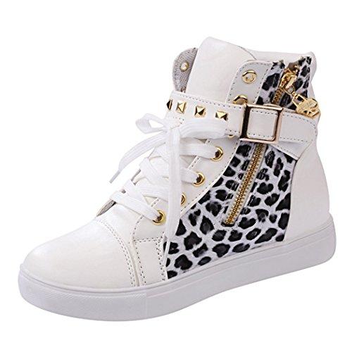 Maybest Womens Automne Rivets Haut-top Chaussures De Toile Casual Whiteleopard