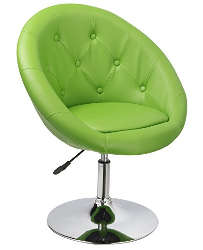 Duhome Elegant Contemporary Accent Chair Tufted Round Back Adjustable Swivel Cocktail Chair with Synthetic Leather WY-509A (Green)