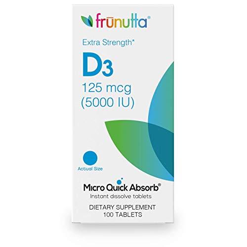 Frunutta Vitamin D3 5000 IU, 100 Instant Dissolve Tablets