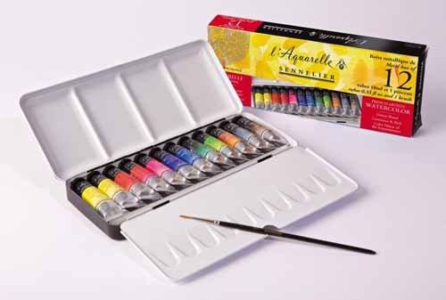 Sennelier Watercolor Metal Box 12 Tube Set