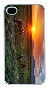 free cover wild horses sunset PC White Case for iphone 4/4S