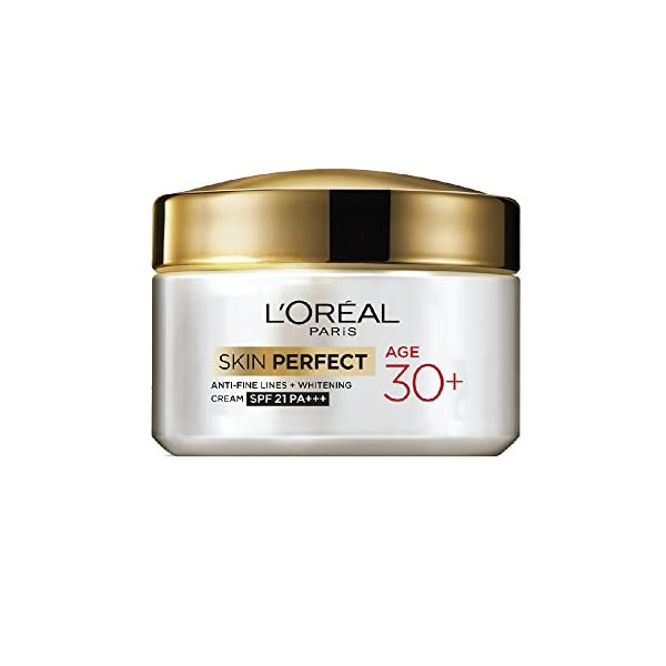 L'Oreal Paris Skin Perfect 30+ Anti-Fine Lines Cream, 50g 2021 July Day cream for age 30+ to reduce fine lines and brighten skin tone Age 30+ skin perfect range comprises of a moisturizing cream along with cleansing foam Both contain pro collagen which is perfect for fighting those fine lines that begin to appear in your thirties, giving you younger, glowing skin