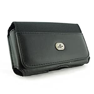 Black Stylish Horizontal Leather Look Holster Case Pouch with Belt Loop and Belt Clip For Nokia E7 E7-00