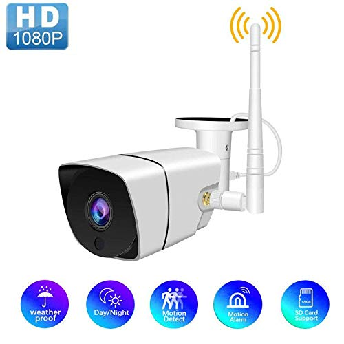 Wireless 1080P Outdoor WiFi Security Camera, 2MP HD IP Home Surveillance Camera System with Super Night Vision,Motion Detection,IP66 Waterproof for Indoor Outdoor Bullet Camera, SD Card Support