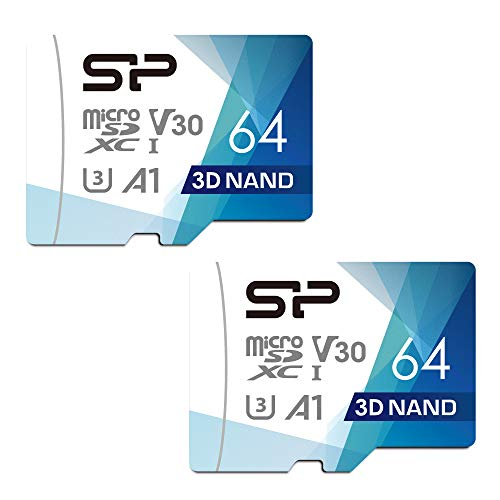Silicon Power 64GB 2-Pack R/W up to 100/ 80MB/s Superior Pro Micro SDXC UHS-I (U3), V30 4K A1, High Speed MicroSD Card with Adapter